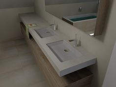 (De Eerste Kamer) Zwevend wastafelblad met houten onderkast. Erg mooi! Meer foto's van dit ontwerp staan op www.eerstekamerbadkamers.nl