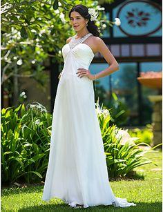 Sheath/Column Plus Sizes Wedding Dress - Ivory Sweep/Brush Train Jewel Chiffon – CAD $ 180.69