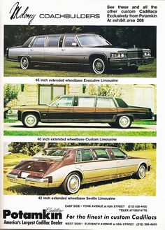 1978 Cadillac Brougham DeVilles Eldorado Seville Limousines Sales Brochure