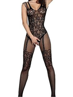 c7162af2cb Amstt Womens Sexy Lace Fishnet Floral Mesh Lingerie Bodystockings Bodysuits  (Black)     Be sure to check out this helpful article.