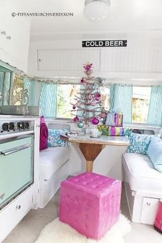 The Fancy Farmgirl Tiffany Kirchner Dixon - Christmas vintage travel trailer glamping pink aqua silver by alison