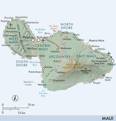 Map of Maui.  Our group trip to Maui, Hawaii.  Feb. 14-22 1993