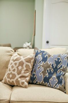 sofa upholstered in Pindler & Pindler Sanderson in Parchment. It's a super durable fabric and soil and stain resistant!