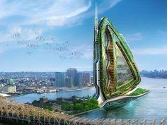 pour répondre au besoin d'autosuffisance alimentaire et énergétique des villes modernes, l'architecte belge Vincent Callebaut a conçu un prototype de ferme urbaine biologique. La tour Dragonfly ambitionne de réduire l'empreinte écologique des consommateurs urbains en faisant d'eux des agriculteurs bio