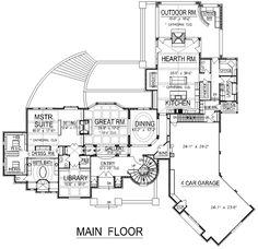 First Floor Plan of European   Hillside   Luxury   House Plan 74410