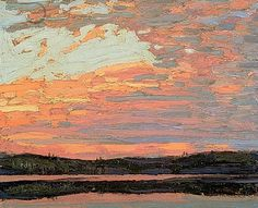 Tom Thomson (Canadian, In Algonquin Park, Canadian Group of Seven Group Of Seven Artists, Group Of Seven Paintings, Emily Carr, Canadian Painters, Canadian Artists, Landscape Art, Landscape Paintings, Tom Thomson Paintings, Sunset Sky