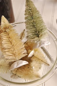 How-to: DIY Bottle Brush Trees * Just bleaching can change the deep original color to a primitive faded color.