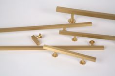 Lew's Hardware || Square Bar Pulls in Brushed Brass