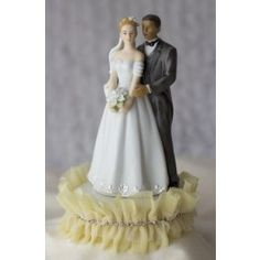 // Tulle and Rhinestones Elegant Interracial Wedding Cake Toppers