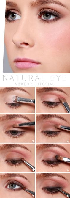 light smoked defined eye (best used with navy, plum, or brown liner shadow), flushed cheeks, rose lip