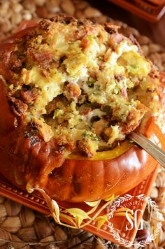 Thanksgiving Stuffing in a Pumpkin with gruyere bacon & green onion roasted stuffed pumpkin using baguette. Thanksgiving Stuffing, Thanksgiving Feast, Thanksgiving Recipes, Fall Recipes, New Recipes, Holiday Recipes, Cooking Recipes, Favorite Recipes, Christmas Desserts