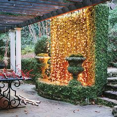 Hang Twinkling Lights Hang twinkling Christmas lights on a fountain or stone wall in the garden to create a striking winter focal point fro. Christmas Lights, Christmas Holidays, Christmas Decorations, Holiday Lights, Outdoor Christmas, Christmas Entryway, Christmas Videos, Christmas Displays, Christmas Pictures