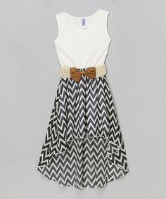 Loving this Black & White Chevron Belted Hi-Low Dress - Girls on #zulily! #zulilyfinds