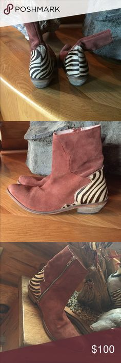 Free People Suede and Pony hair zip boots 39 Gorgeous zip boots from Free People. Well loved no smoking home. Spot on toe see photo, could easily be cleaned with suede cleaner and removed. Size 9 Free People Shoes Ankle Boots & Booties