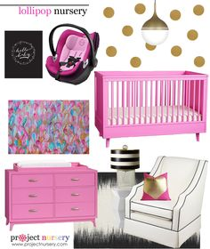 Pink and Gold Nursery Design Board