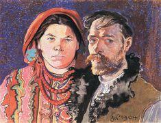 """""""Portret artysty z żoną"""" (Portrait of the artist and his wife.) 1904. Stanisław Wyspiański. Pastel."""