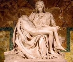 """Michelangelo Buonarroti - The Pieta .  Michelangelo is an extraordinary figure in art; and to many is considered to be the greatest artist of all time. His understanding of the human anatomy, along with the ability to manipulate proportions in the human form, inspired many artist during his time to also exaggerate and elongate the human form, in their art. This eventually developed into the next art movement - """"mannerism""""; which is one my favorite movements in art. He's definitely one of my…"""