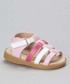 Take a look at this Pink & White Strappy Squeaker Sandal by Sneak A' Roos on #zulily today!