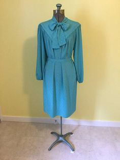 9498e833cf1a98 Secretary Dress in Aqua by Leslie Pomer 1980s Vintage Secretary