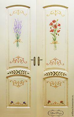 """Купить Роспись двери """"Лаванда - мак """". - дверь, двери, Роспись по дереву, роспись акрилом"""