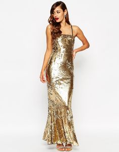 Image 1 of ASOS RED CARPET Sequin Bandeau Fishtail Maxi Dress