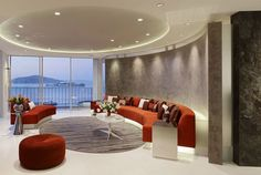 Living Room : Round Red Leather Ottoman Curved Red And White Leather Living Room Sofa Contemporary Living Room Inspiration Design Round Recessed Light In Attractive Easy Living Rooms Decoration That Make Romantic Ambience Living Room Paint Ideas. Living Room Interiors. Living Room Paint Colors.