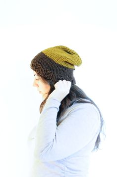 Knit Slouchy Hat / Winter Toque / Brown & Caramel / Vegan by daynightrose on Etsy
