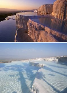 Pamukkale (Turkey) In Turkish the name literally means Cotton Castle and it is easy to see why it was given that name. Yet this geological wonder is also the site of the ancient city of Hierapolis and over the centuries the two have seemed to come together, almost merged into one. In fact some of the old tombs in the city's necropolis have become part of landscape. The site itself is a series of travertines and hot springs.