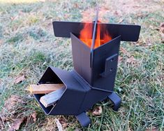 Rocket Stove *Removable top and Self Feeding* ChristiansburgWeld Rocket Stove / Camping Stove / Wood Stove / Emergency Stove /Survival Welding Jobs, Welding Projects, Welding Ideas, Metal Projects, Jeep Camping, Camping Cabins, Camping Trailers, Campsite, Container Architecture