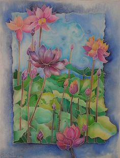 Favorite part = border and how it integrates with painting.  Lovely. Latest silk painting