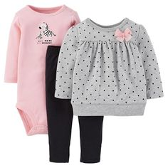 Just One You™Made by Carter's® Newborn Girls' 3 Piece Set - Peach/Grey