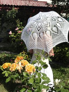 Wedding umbrella Crochet umbrella White lace by CrochetTenderness