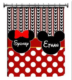 RESERVE Personalized Custom Shower Curtains in Mickey or Minnie ...
