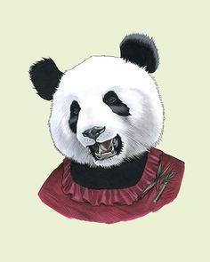 Etsy の Lady Panda Bear print 8x10 by berkleyillustration