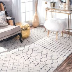 Gray area rug.  Love this.  nuLOOM Geometric Moroccan Bead Pattern Grey/ White Rug (6'7 x 9') #aff
