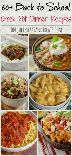 60+ Crock Pot Dinner Recipes ~ Tons of easy recipes perfect for any busy family when you need to get dinner on the table fast! ~ http://www.julieseatsandtreats.com