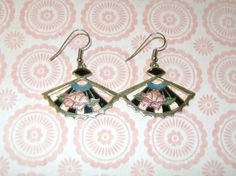 Cloisonne Enamel Fan Shaped Pierced Earrings by vintagerepublic1, $12.00