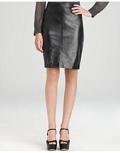 DKNY Leather Pencil Skirt