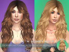 Wavy Bangs, Long Bangs, Long Curly Hair, Curly Hair Styles, Hairstyles With Bangs, Straight Hairstyles, The Sims 4 Cabelos, Sims 4 Cc Packs, Sims Hair