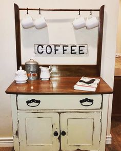Wash stand meets coffee bar - Deb E - - Woodley Coll - Coffee Stations Furniture Fix, Funky Furniture, Repurposed Furniture, Furniture Projects, Furniture Making, Painted Furniture, Refinished Furniture, Antique Wash Stand, Coffee Stands