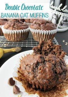 These Double Chocolate Banana Oat Muffins are a perfect quick breakfast or relax and enjoy your favorite morning beverage in a personalized mug! [ad]