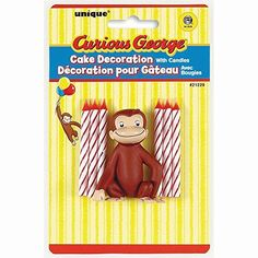 Curious George Cake Topper & Birthday Candle Set Unique