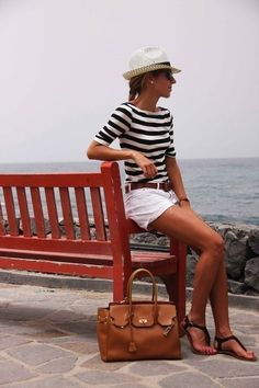 striped shirt, white shorts, flat sandals, casual summer outfit