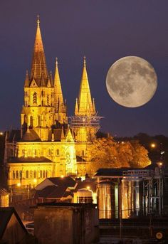 Moonrise Over St Finbar's Cathedral & Beamish's Brewery , Cork, Ireland - by mkamionka Oh The Places You'll Go, Places To Travel, Places To Visit, Travel Destinations, Beautiful World, Beautiful Places, Beautiful Moon, Amazing Places, Chapelle