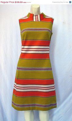 Mod 1960s minidress green stripes