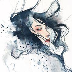 Watercolor Woman by kelogsloops