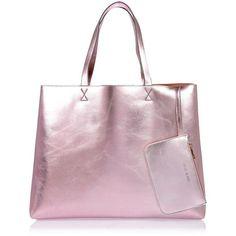 River Island Pink shiny reversible beach bag ($44) ❤ liked on Polyvore featuring bags, handbags, river island, beach bag, hand bags, pink purse, man bag and reversible handbag