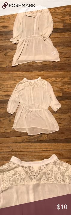 Sheer And Lace Top Flowy and super cute. I don't have to wear white to work anymore so I never wear this. In great condition and looks great with leggings. From a smoke free home. Mossimo Supply Co. Tops Blouses