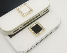 1PC Bling Crystal Framed Square iPhone Home Button Sticker Charm for iPhone 4,4s,4g,5,5c Cell Phone Charm Lover Gift on Etsy, $3.99