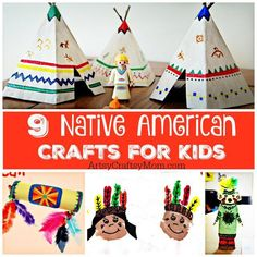 9 Native American Crafts for Kids - 9 Native American Crafts for Kids. Kindergarten, preschool, and elementary school crafts. Native American Heritage Month, Native American Art, Native American Projects, Native American Teepee, American Indians, Indiana, American Indian Crafts, Pilgrims And Indians, Cowboy Crafts